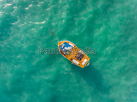 aerial view of traditional fishing boat