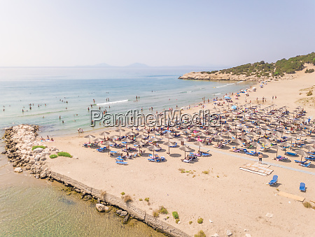 aerial view of crowded beach with