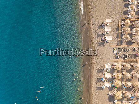 aerial view of beach with straw