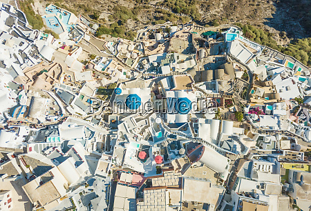 aerial view above traditional white houses