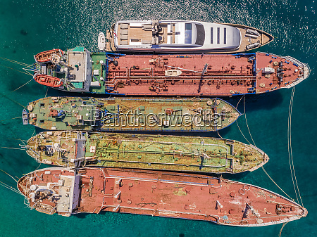 aerial view of old boats anchored