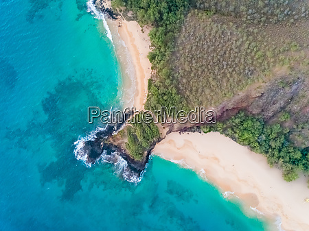 aerial view of empty beach with