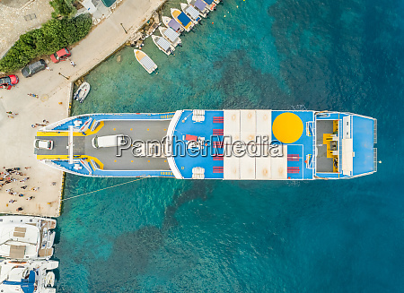 aerial view of ferry anchored on