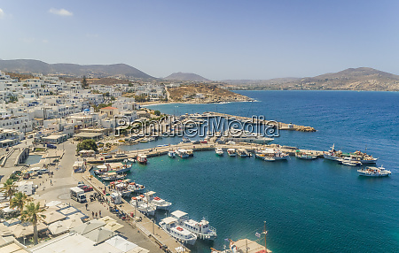 aerial view of naoussa city with