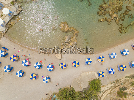 aerial view of blue and white