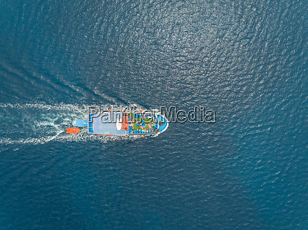 aerial view of ferry boat in