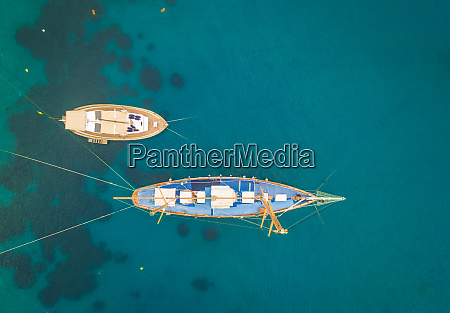 aerial view of traditional boats in