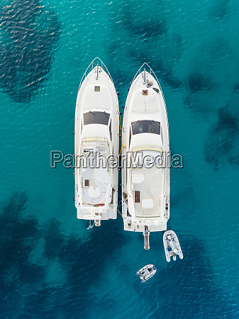 aerial view of two luxurious yacht