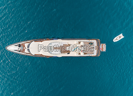 aerial view of luxurious yacht with