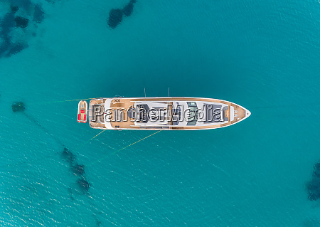 aerial view of luxurious yacht in
