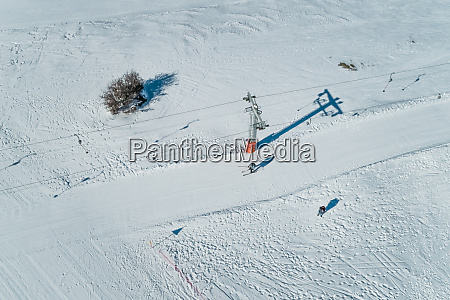 aerial view of people on skiing