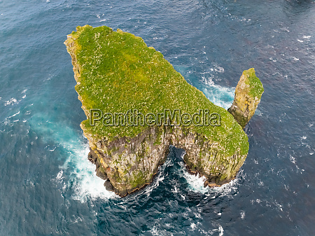 aerial view of isolated rock formation