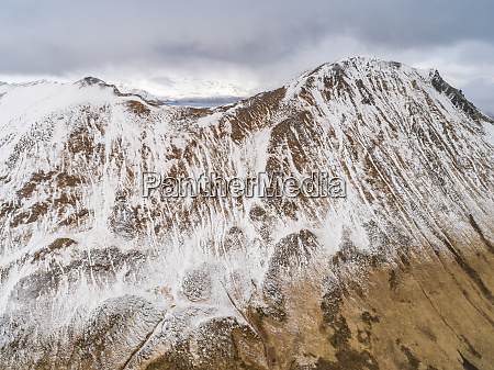 aerial view of snowy mountains in