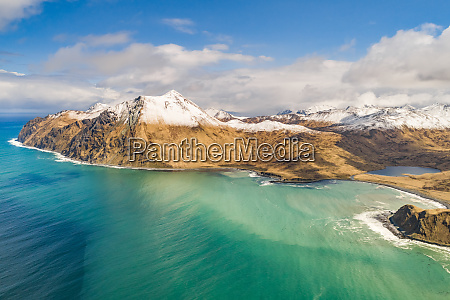 aerial view of turquoise bay in