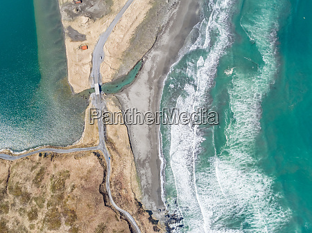 aerial view of turquoise bay and