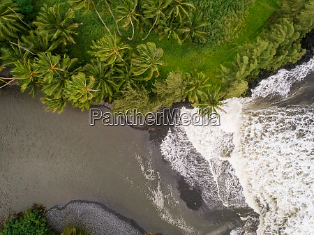 aerial view of river water encountering