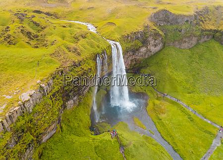 aerial view above of seljalansfoss waterfall