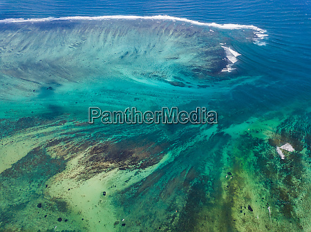 aerial view of coral reef mauritius