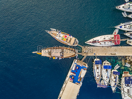 aerial view of boats anchored on