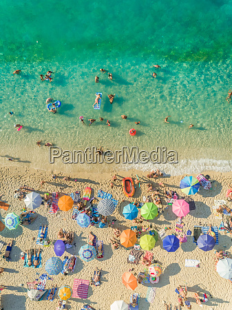 aerial view of people on crowded