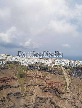 aerial view of traditional white houses