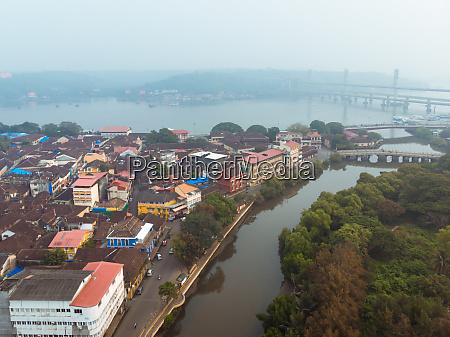 aerial view of fontainhas neighbourhood in