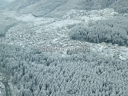 aerial view of snow capped old