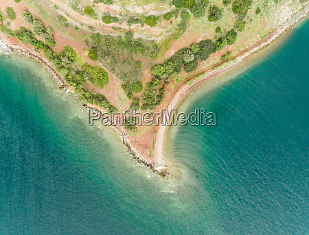 aerial view of the coastline horn