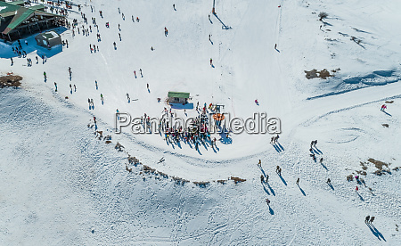 aerial view of people trekking at