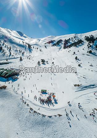 aerial view of people trekking at