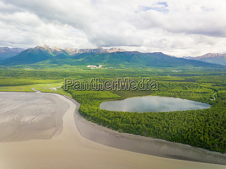 aerial view of water reservatory near