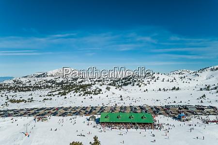 aerial view of ski resort located