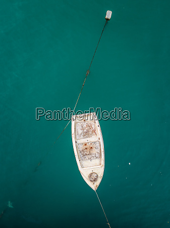 aerial view of boat moored in