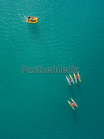 aerial view of people in paddle