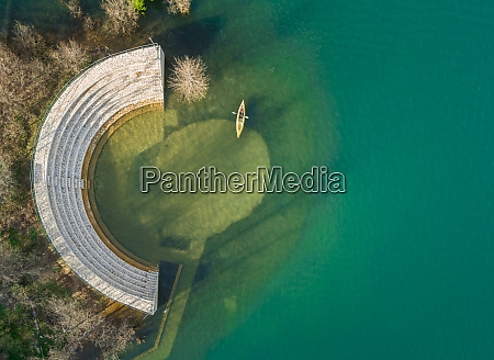 aerial view of person kayaking next