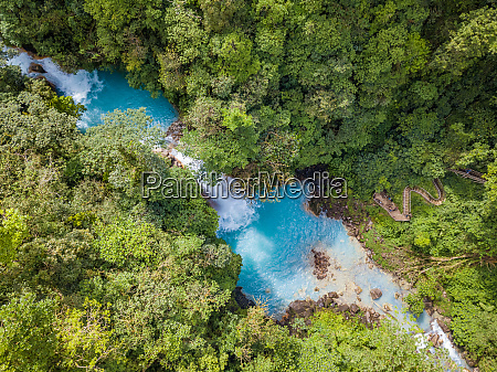 aerial view of celeste waterfall and
