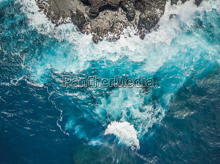 aerial abstract view of rocky coastline