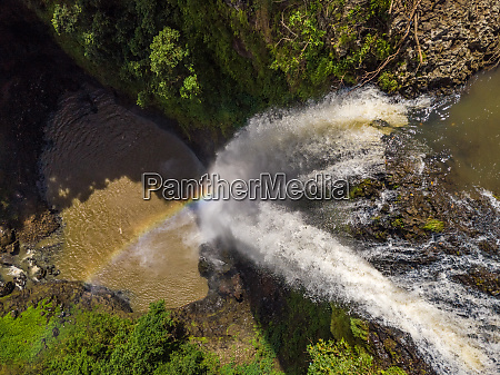aerial view of chamarel waterfall riviere