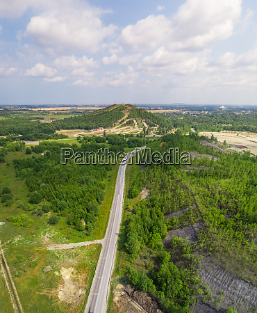 aerial view road going through forest