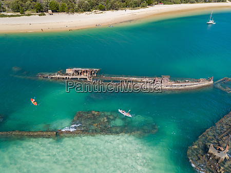 aerial view of kayak and tangalooma