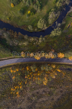 aerial view above of river crossing