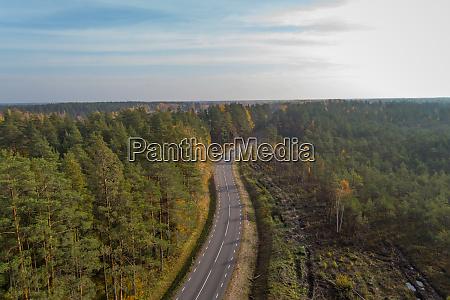 aerial view of curve asphalt road