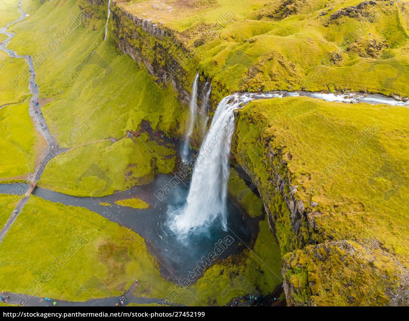 aerial, view, above, of, seljalansfoss, waterfall - 27452199