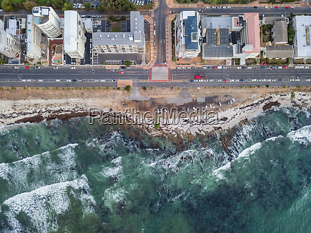 aerial view of coastal road and