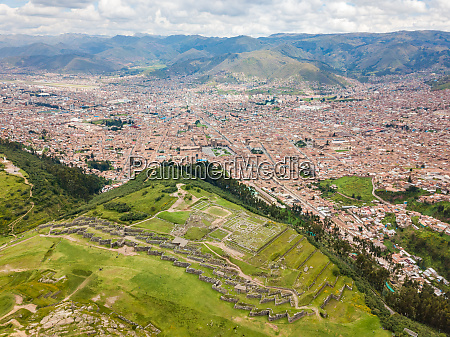 aerial panoramic view of cuzco city