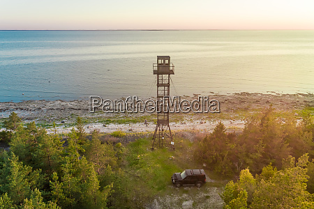 aerial view coast and tower forby