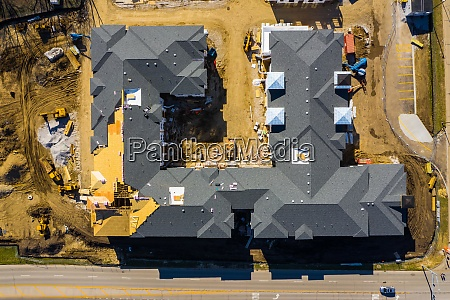 aerial view of a residential construction