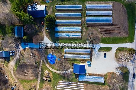 aerial view of an organic farm