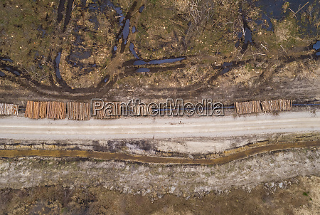 aerial view of empty dirt road