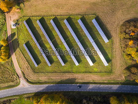 aerial view of solar panel rows